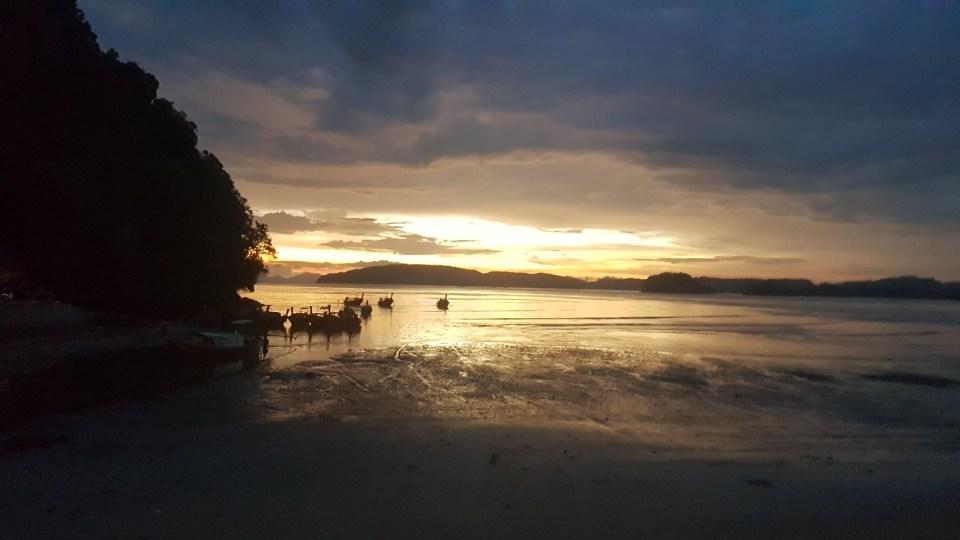 Sunset at an Ao Nang beach