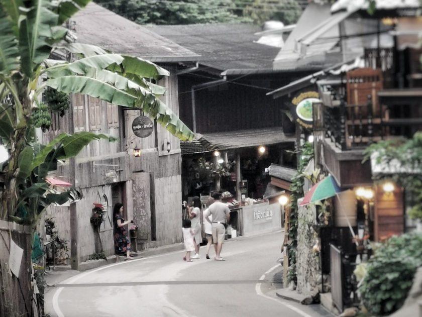Main street in Mae Kampong,