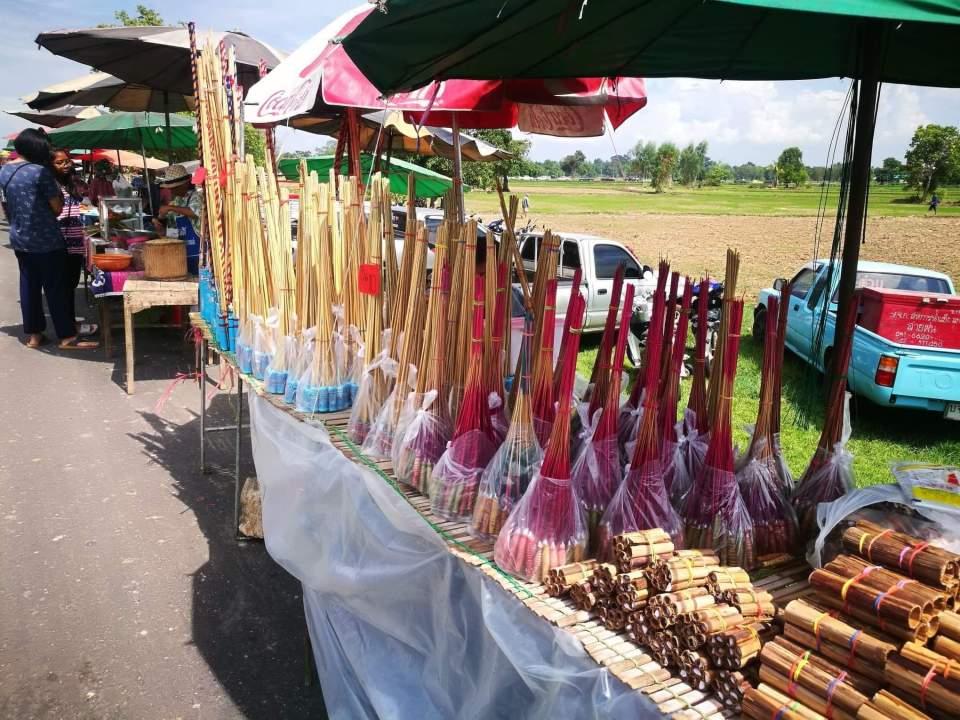 Rockets for sale at the market. Yasothon.