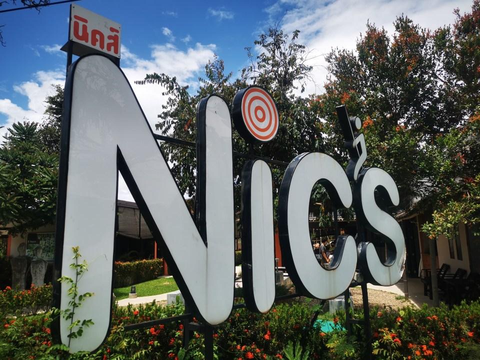 The sign of Nics Restaurant and Playground