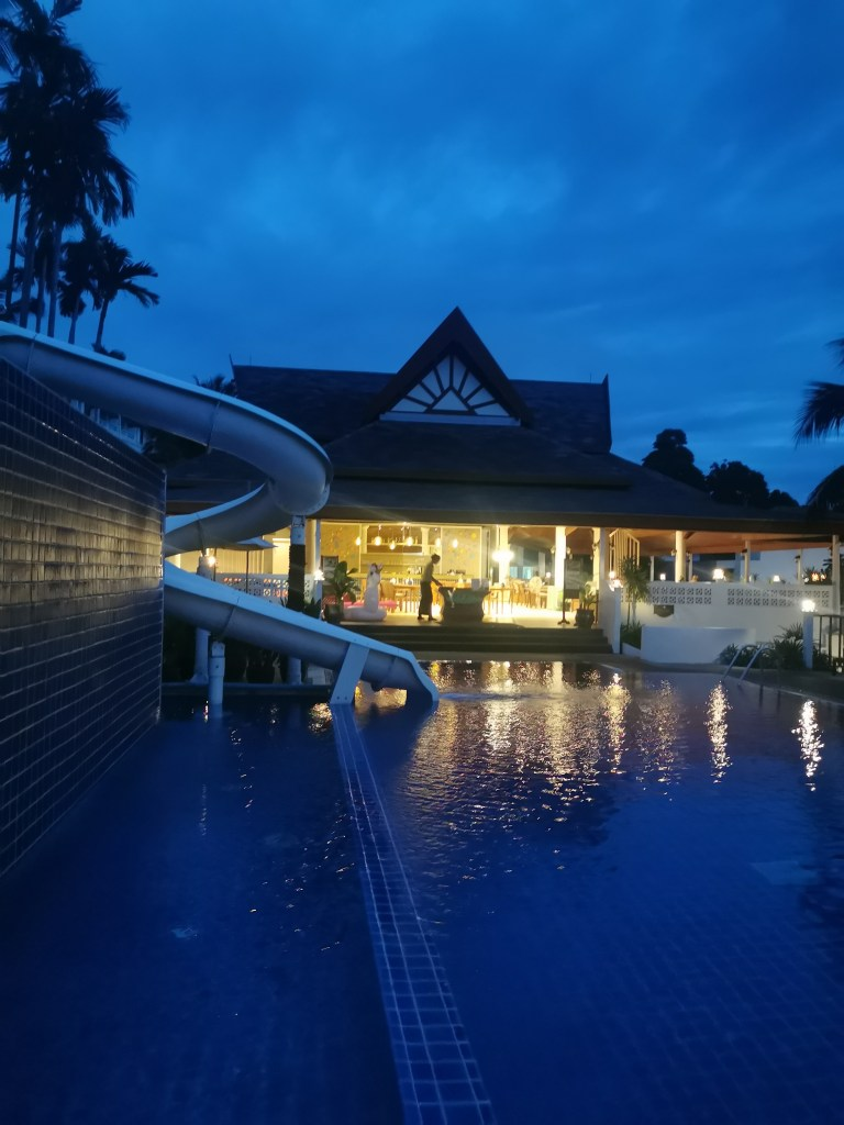 Andamantra's swimming pool by night.