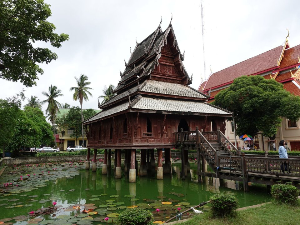 Ho Trai, a library building in Wat Thung Sri Muang. Ubon Ratchatani.