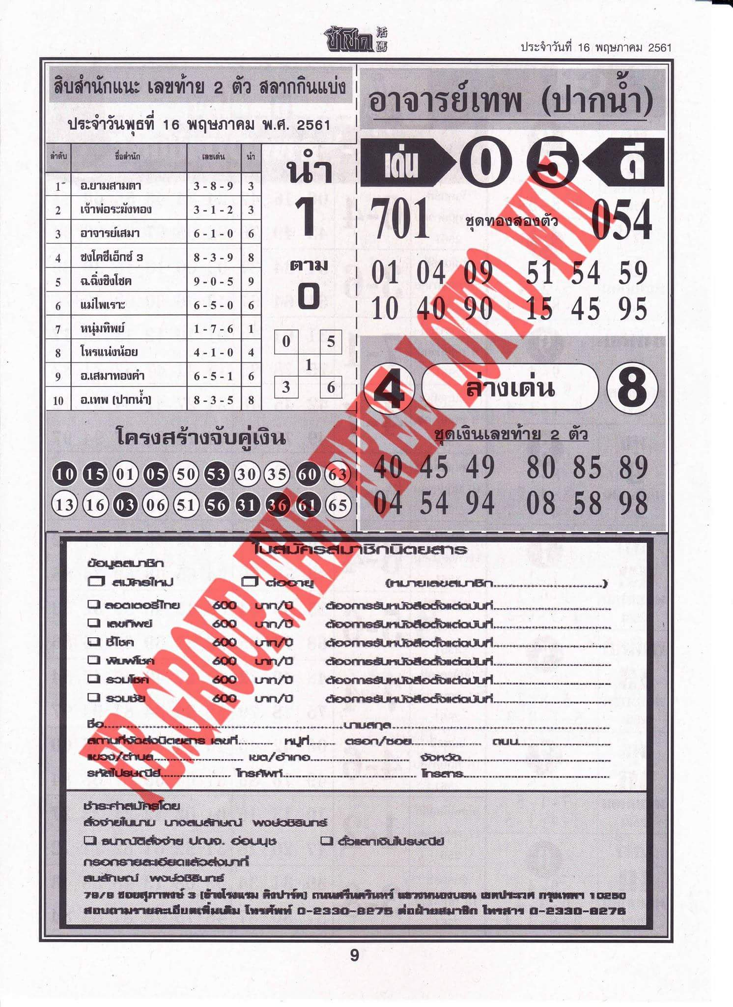 thai lotto 4pc first paper 1/5/2019