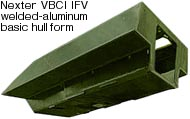 VBCI has a boxy, flat-bottomed hull form – surprising in these IED-conscious times but not unique among CCV candidates. The VBCI's hull is distinct from other CCV entrants in its all welded-aluminum construction.