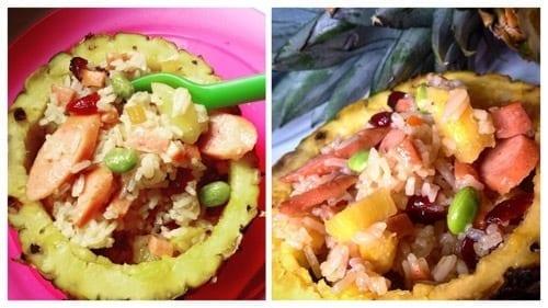Stekt ris med ananas, korv och tranbär