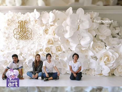 ดอกไม้กระดาษ งาน แต่ง ขาว paper flower wedding เจ้าสาว ดอกไม้กระดาษ พาน ขันหมาก พานเทียนแพ แพคเกจ แต่งงาน ฉาก ดอกไม้ งานแต่ง