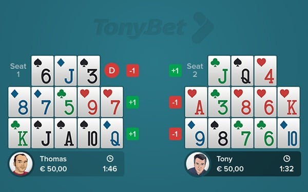 Open-face Chinese Poker - Simple 08