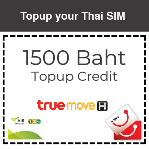 1500 Baht Reload Credit