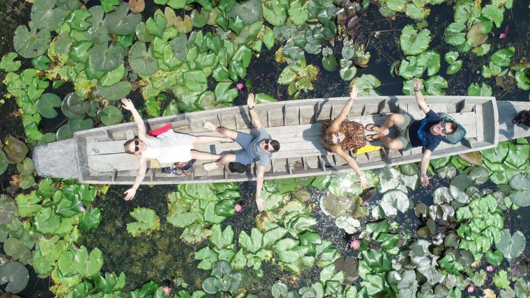red lotus floating market thailand drone