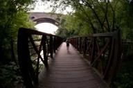 Behind Amber as she walks across the bridge