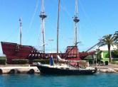 Momo with a gallion replica, st george's harbour, bermudas, 2013