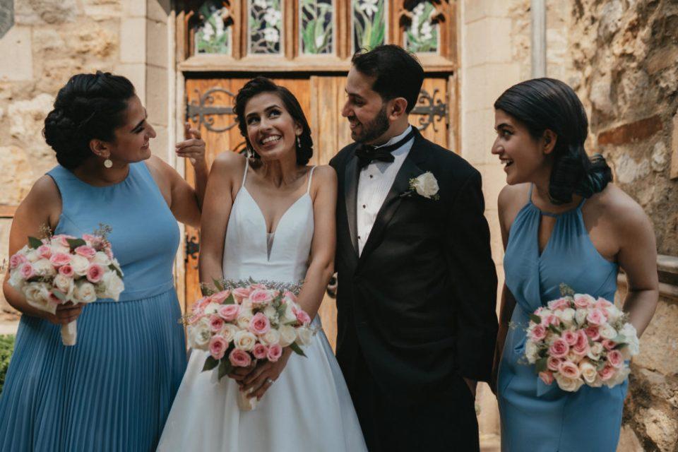 bride with her siblings