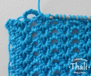 ... 1 jeté que l'on tire à travers les 6 boucles sur le crochet