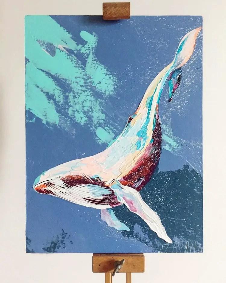 New Anastasia Ablogina: walvissen schilderen met paletmes - Thalmaray.co @KR03