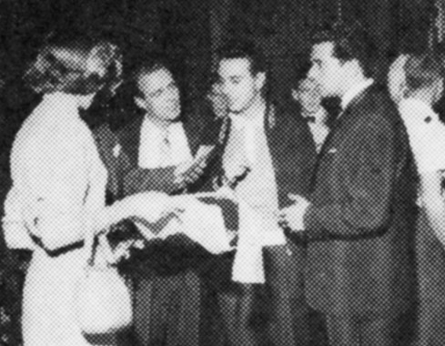 1957 Producing 'Sunday Night at the London Palladium'. Brian is talking to Dickie Henderson (left), Frankie Vaughan (right), two members of the King Brothers are in the background and on the extreme left are Charles Henry of the Palladium and Production Assistant Audrey Maclean, who became Mrs Tesler.