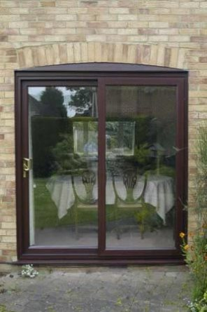 Halo PVC Patio, Sliding door in rosewood finish