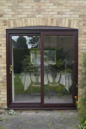 Halo PVC Patio, Sliding door in rosewood finish