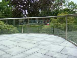 Wide curved balustrade with royal chrome handrails