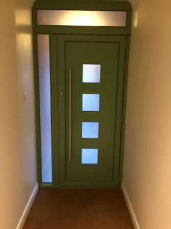 Green Aluminium Entrance Door