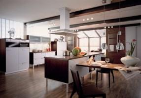 Moderne Küche Mit Essecke Und Wohnzimmer Beeindruckend On ...