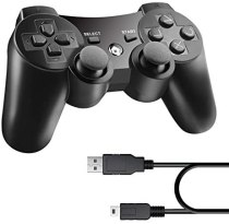 Diswoe Wireless Controller für PS3, Wireless Controller Double Shock Gaming Controller 6-Achsen Bluetooth Gamepad Joystick mit kostenlosem Ladekabel für PS3 Controller für Playstation