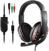 Diswoe PS4 Headset, 3.5mm Noise Cancelling Gaming Kopfhörer mit Surround Sound, 40MM Treiber und Mikrofon, Gaming Headset für PC Xbox One Nintendo Switch/Switch Lite Laptop Mac Handy Tablet