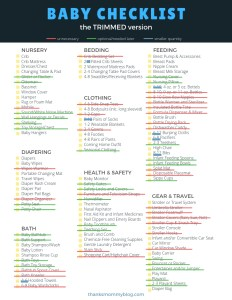 Baby Shopping Checklist- the trimmed version