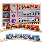 Wooden Train Set 12pcs, Magnetic Railway for Kids
