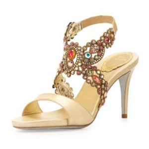 Rene Caovilla Jeweled Metallic Halter Sandal, Gold Multi