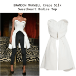 BRANDON MAXWELL Crepe Silk Sweetheart Bodice Top