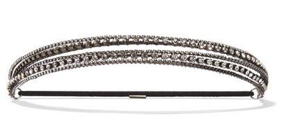 JENNIFER BEHR Gunmetal-tone Swarovski crystal headband