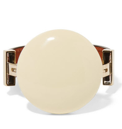 MARNI Gold-plated, horn, leather and resin bracelet