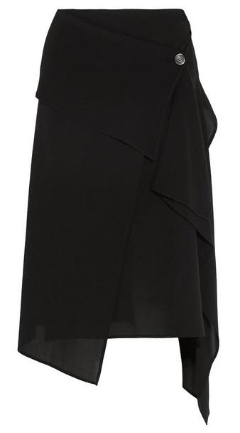 MICHAEL KORS COLLECTION Asymmetric wrap-effect silk-crepe skirt