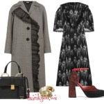 Miu Miu Ruffled dress, Houndstooth coat, Marni pums Etro ring Outfit