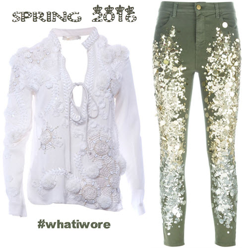 ilk shirt from AMEN whith strass embroidered flowers and beads and embellished jeans