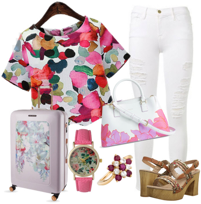 Floral Crop Blouse with white Distressed Relaxed-Fit Jeans