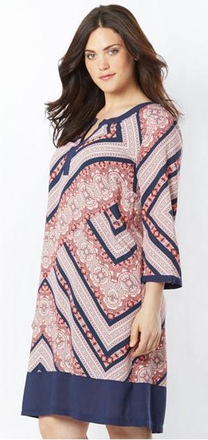rochie casual masura mare cu imprimeu cu maneci lungi TAILLISSIME