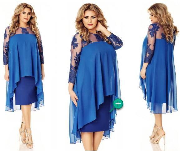 rochie din dantela brodata fin pentru femei xxl de culoare albastra