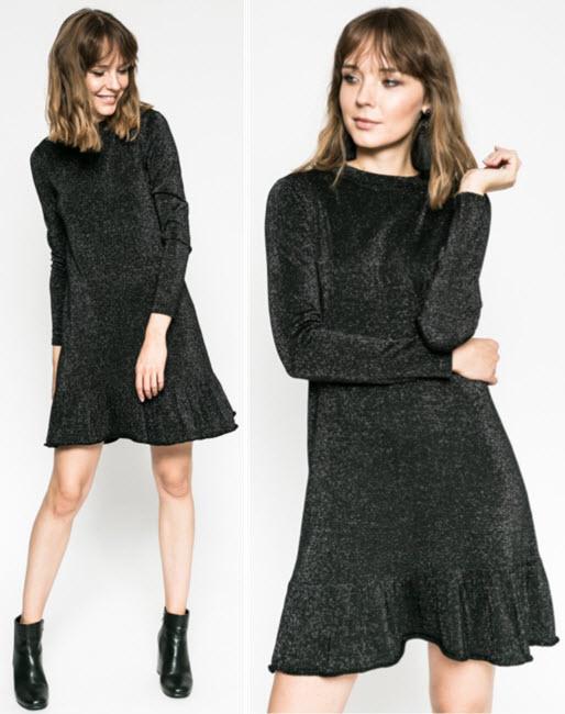 Rochie cu volanas din tricot fin si maneca lunga usor sclipicioasa