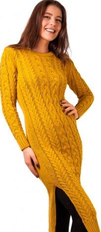 rochie galben mustar tricotata ieftina