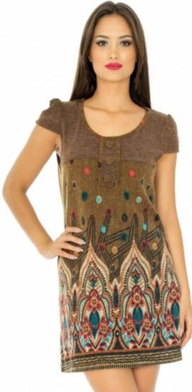 rochie tricotata scurta maro cu model