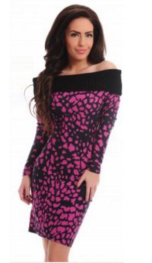 rochii elegante din bumbac tricotat cu guler rulat