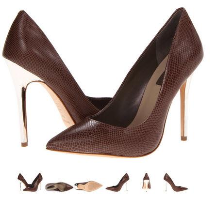 Pantofi cu toc metalizat argintiu BCBGMAXAZRIA Onnie culoare maro sarpe