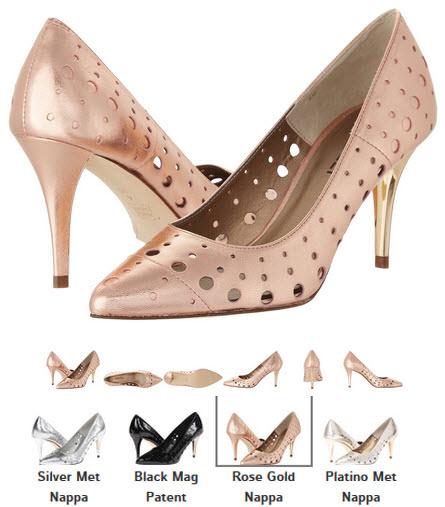 Pantofi din piele perforata cu toc stiletto by Vaneli Skinny argintii, negru, eoz, platinati