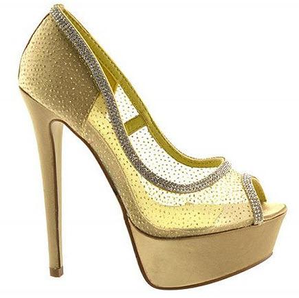 pantofi aurii cu platforma si toc inalt