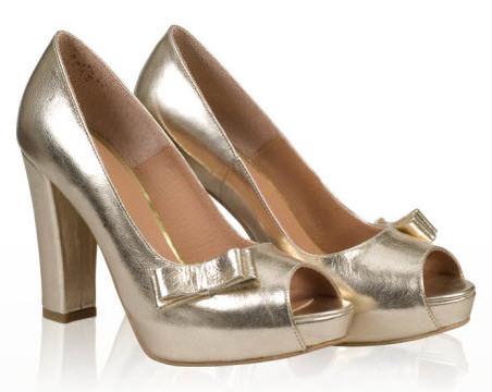 Pantofi aurii cu tocul inalt gros platforma acoperita decupati si funda laterala din piele naturala