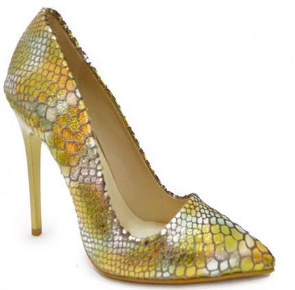 Pantofi eleganti cu toc care imita pielea de sarpe in mai multe nuante aurii