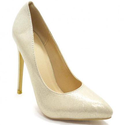 Pantofi eleganti cu toc stiletto de culoare aurie -Pantofi ozon auriu 109 lei