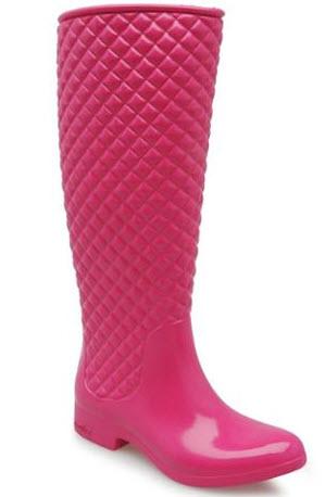 cizme de cauciuc inalte matlasate de culoare roz