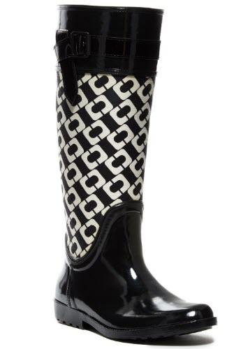 cizme de ploaie inalte negre cu alb Diane von Furstenberg
